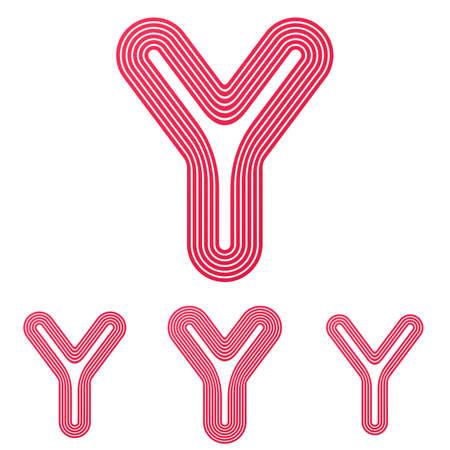 crimson: Crimson line letter y logo design set Illustration
