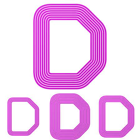 d mark: Magenta line letter d letter   design set Illustration