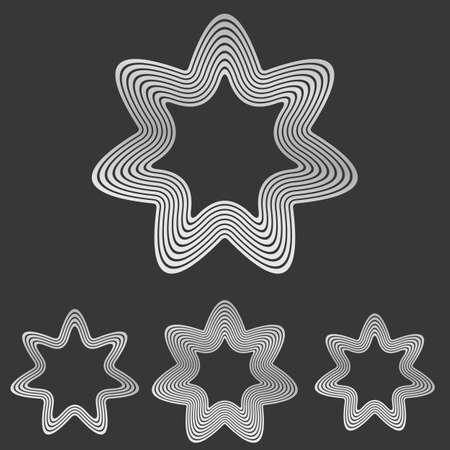 heptagon: Silver metallic line star   design set
