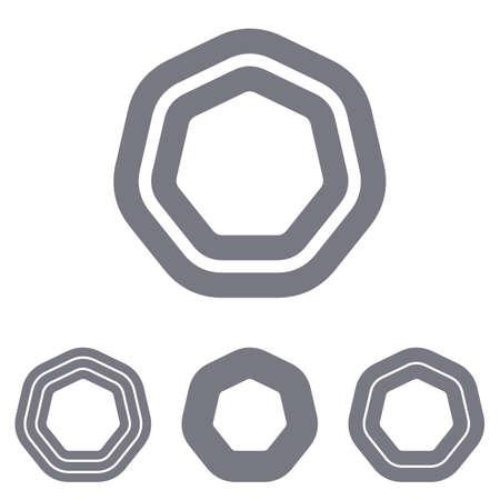 grey line: Grey line heptagon   icon design set