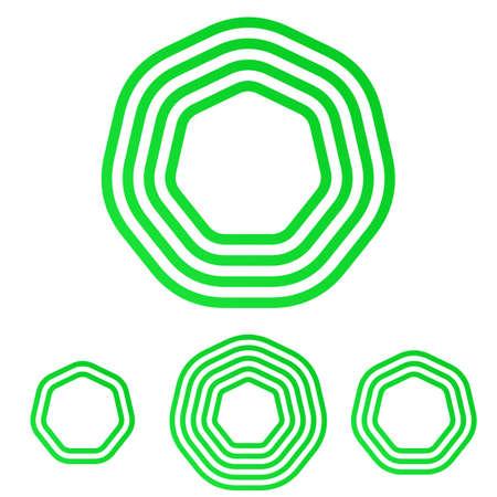 heptagon: Green line heptagon   icon design set Illustration