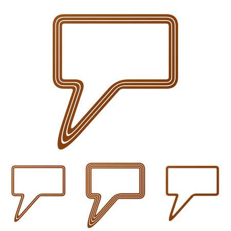bubble icon: Brown line speech bubble icon