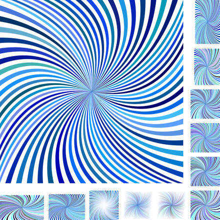 curl whirlpool: Blue and white vector spiral design background set. Different color, gradient, screen, paper size versions. Illustration
