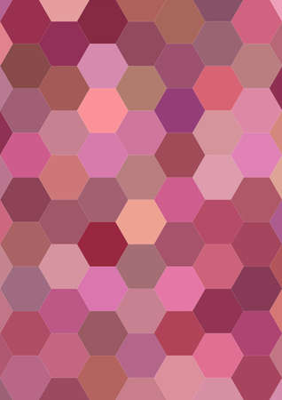 Hexagon mosaic vector background design in pink tones Illustration
