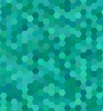 hexagonal shaped: Teal color hexagon mosaic vector background design Illustration