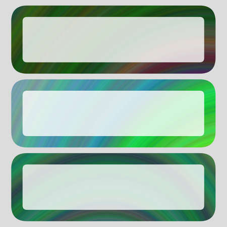 rounded: Digital art horizontal rounded shaped banner set in green tones