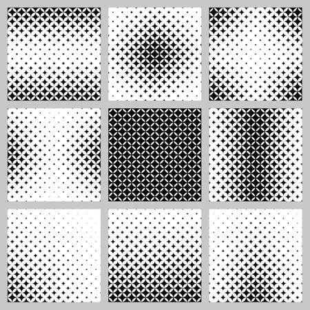 monocrome: Black and white curved star pattern design set