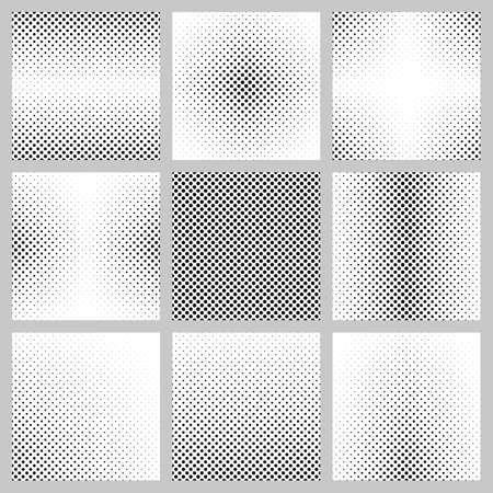 Set of nine monochrome dot pattern backgrounds