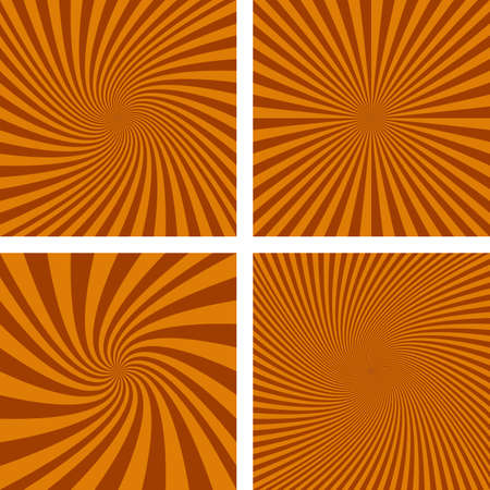 hypnose: Brown vector spiral ray design background set. Illustration