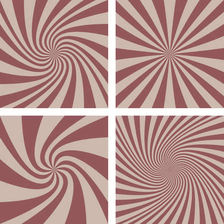hypnose: Retro brown circus design spiral background set