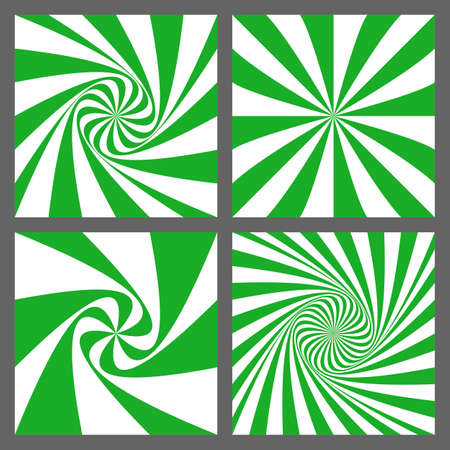 Green and white spiral ray and starburst background design set