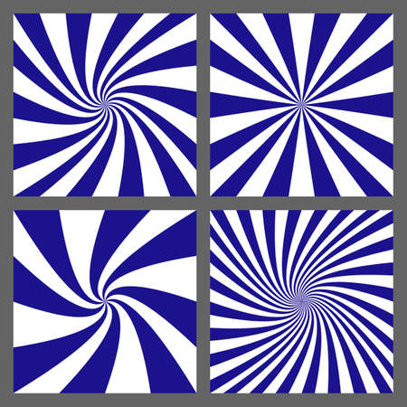 converge: Blue and white retro spiral and ray burst background design set