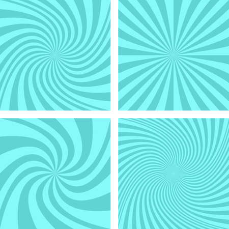 hypnose: Cyan color vector spiral background design set
