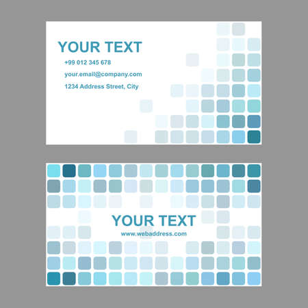 cyan business: Cyan abstract business card template background design from rounded squares Illustration