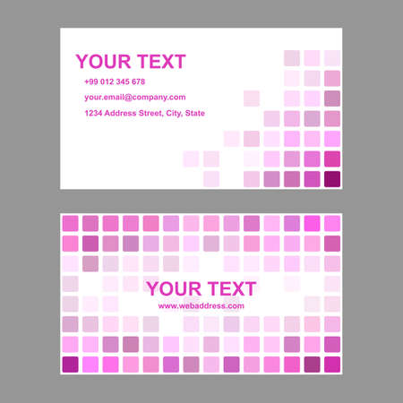 rounded squares: Magenta abstract business card template background design from rounded squares Illustration
