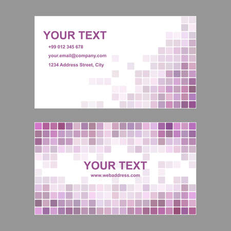 rounded squares: Purple abstract business card template background design from rounded squares
