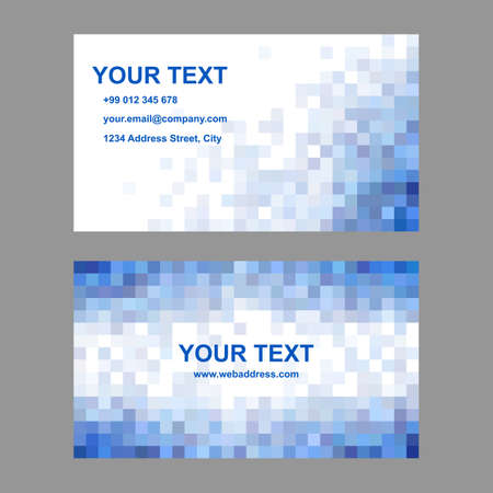 blue card: Blue abstract square mosaic business card template design