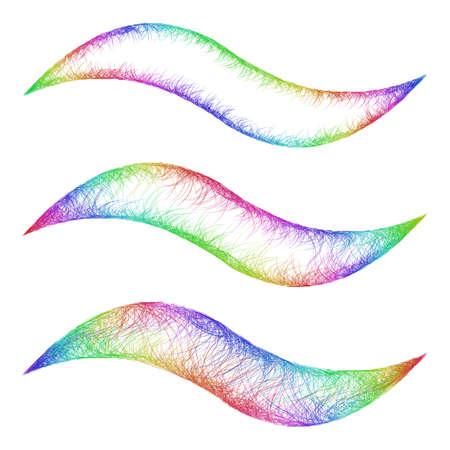 Sketch wave line graphic design element set in rainbow colors