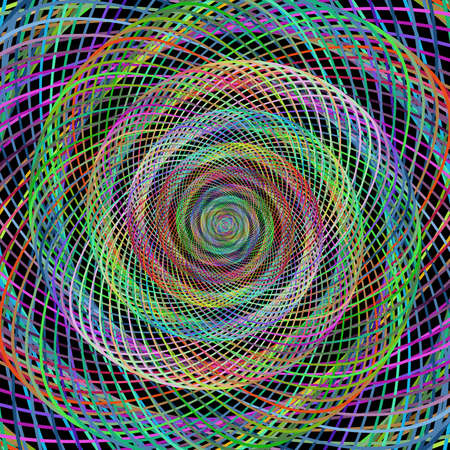 computer art: Multicolored computer generated wired spiral fractal background art Illustration