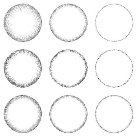 label frame: set of sketch circle design elements Illustration