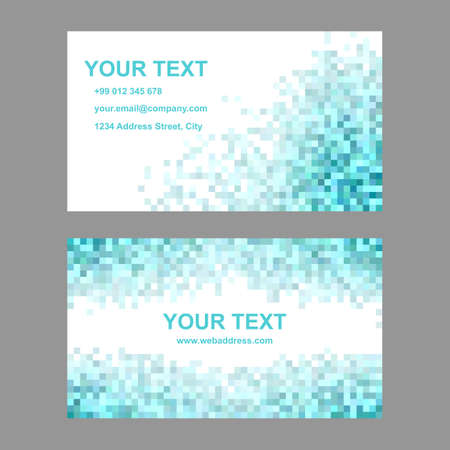 cyan business: Cyan geometric square mosaic business card template set Illustration