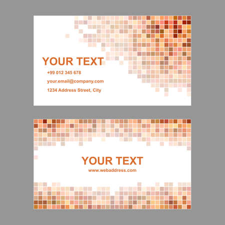 pattern corporate identity orange: Orange square mosaic business card template set