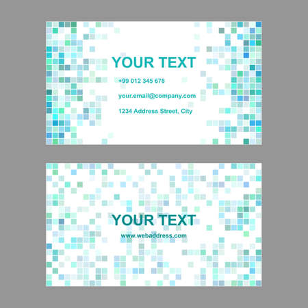 cyan business: Cyan abstract square mosaic business card template design Illustration