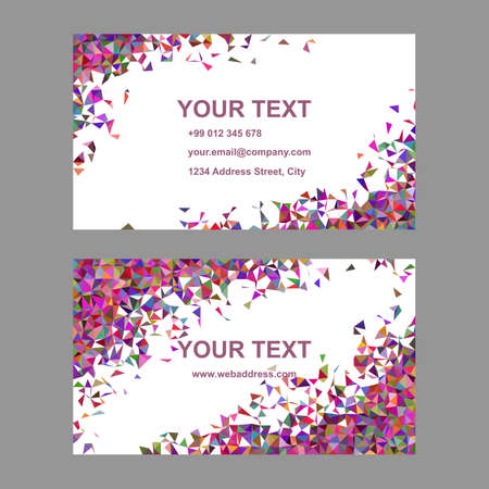 Multicolor chaotic triangle mosaic business card template design Ilustracje wektorowe