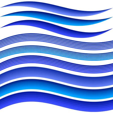 Blue abstract water wave symbol element design set