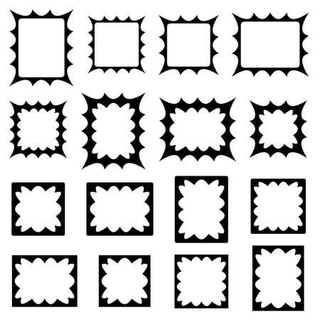 Black abstract curved spiky shape frame design set Vector Illustration