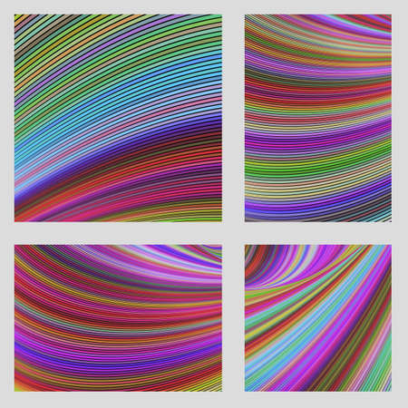 Colorful curved digital art page background set