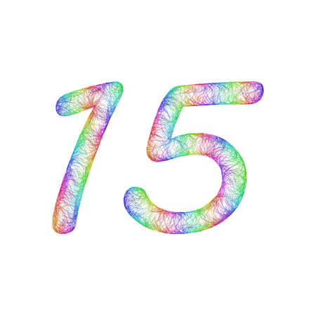 fifteen year old: 15 years anniversary - rainbow sketch font design from colorful curved lines - number fifteen Illustration