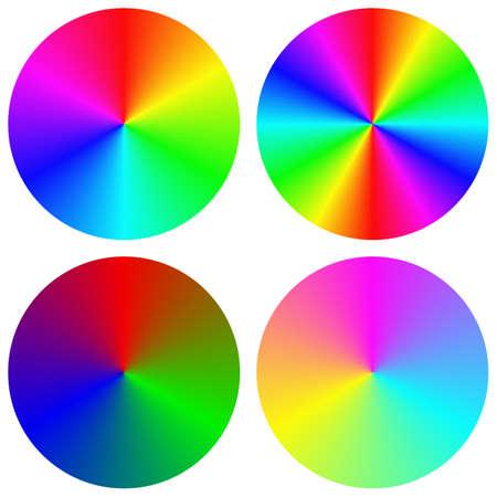 rainbow circle: Isolated gradient rainbow circle color palette design set