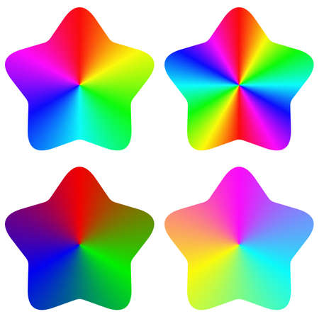 Abstract isolated gradient rounded rainbow star set