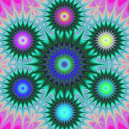 Multicolored abstract computer generated fractal mandala background