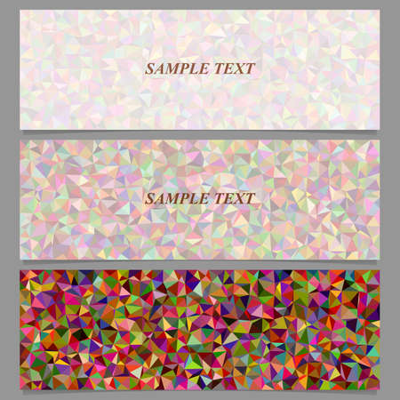 Colorful abstract tiled triangle mosaic banner design set