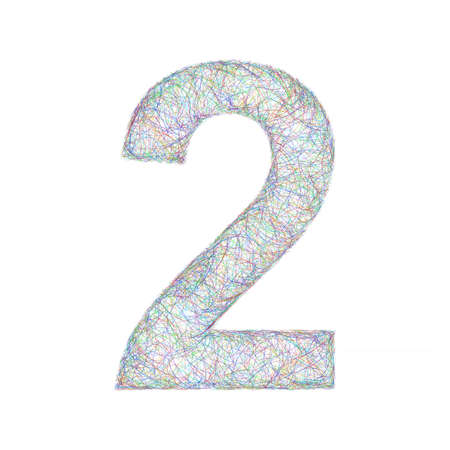 number 2: Sketch font design from colored curved lines - number 2