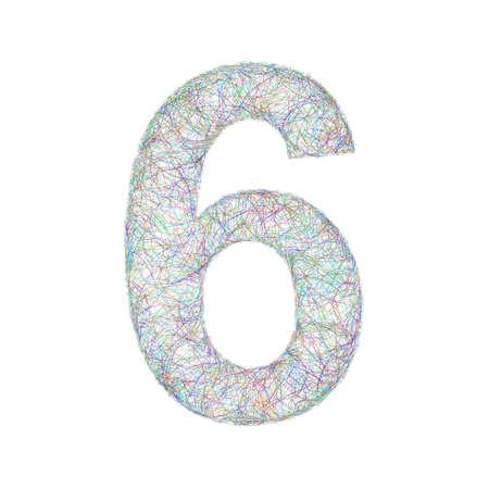 number 6: Sketch font design from colored curved lines - number 6