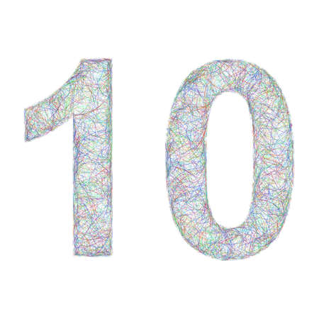 10 years: Sketch font anniversary from colorful curved lines - 10 years anniversary Illustration