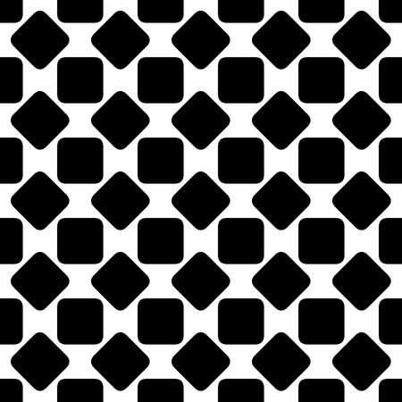 Repeating abstract black and white rounded square pattern background design - halftone geometric vector illustration Stock Photo