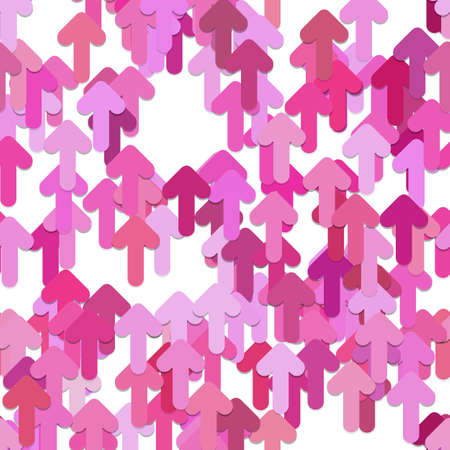 Seamless geometrical arrow background pattern - vector design from pink rounded upward arrows with shadow effect
