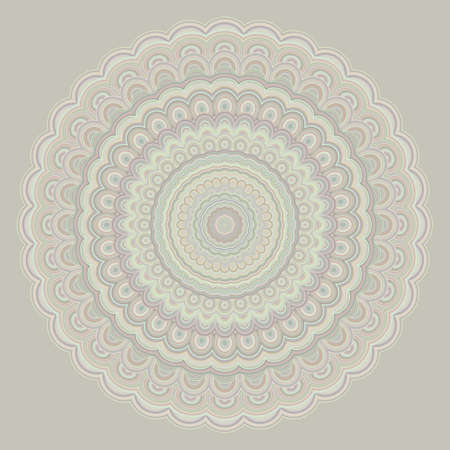Bohemian mandala ornament background - round symmetry vector pattern design from concentric oval shapes