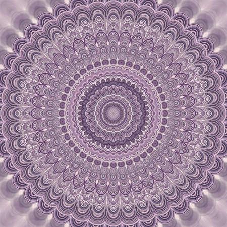 Light purple bohemian mandala fractal background - round symmetrical vector pattern design from concentric oval shapes Çizim