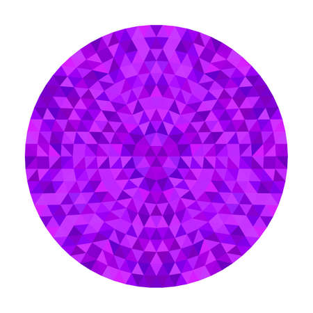 Round geometrical triangle kaleidoscope mandala design symmetrical vector pattern digital art from colorful triangles Çizim
