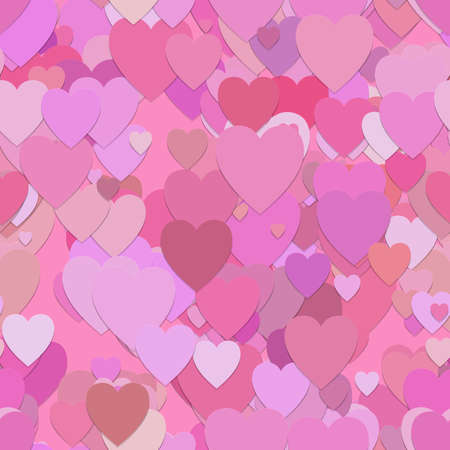 piece: Seamless valentines day pattern background - vector graphic from hearts in pink tones with shadow effect Illustration