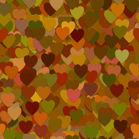 piece: Repeating abstract geometrical heart pattern background - vector graphic from hearts in brown autumn tones with shadow effect