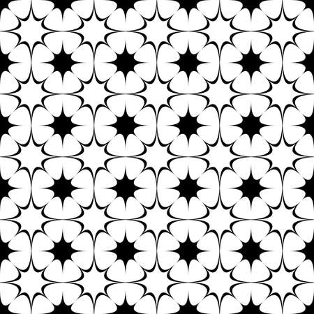 repetition: Repeating abstract black and white curved star pattern - halftone vector background graphic from octagram shapes Illustration