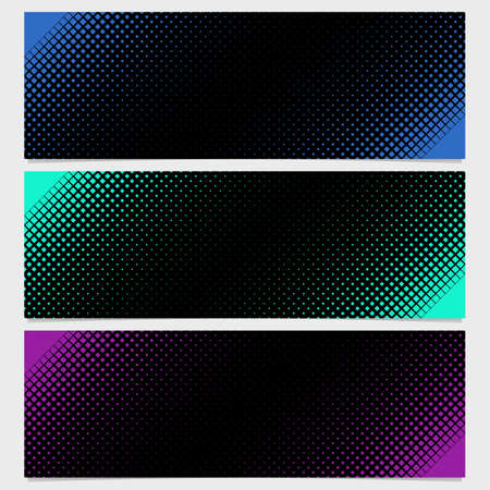 varying: Halftone square pattern banner template design set - vector illustration from diagonal squares in varying sizes