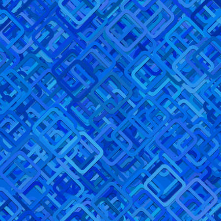 Seamless abstract geometric square pattern background - vector illustration from diagonal rounded squares in blue tones