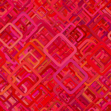 Red seamless abstract geometric square pattern background - vector illustration from diagonal rounded squares